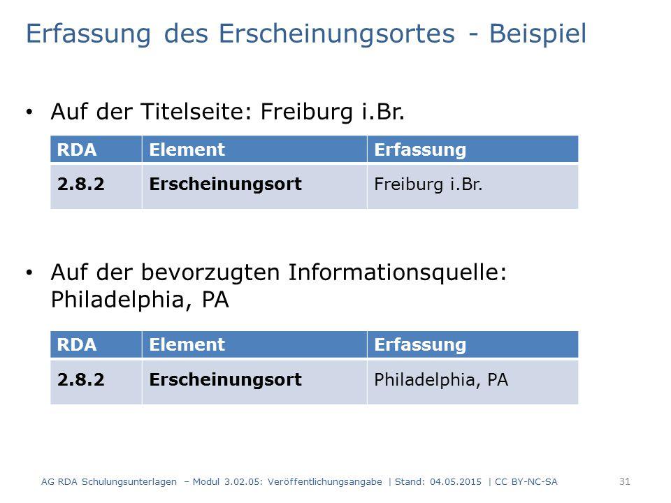 Erfassung des Erscheinungsortes - Beispiel Auf der Titelseite: Freiburg i.Br. Auf der bevorzugten Informationsquelle: Philadelphia, PA AG RDA Schulung