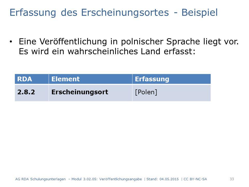 Erfassung des Erscheinungsortes - Beispiel Eine Veröffentlichung in polnischer Sprache liegt vor. Es wird ein wahrscheinliches Land erfasst: AG RDA Sc