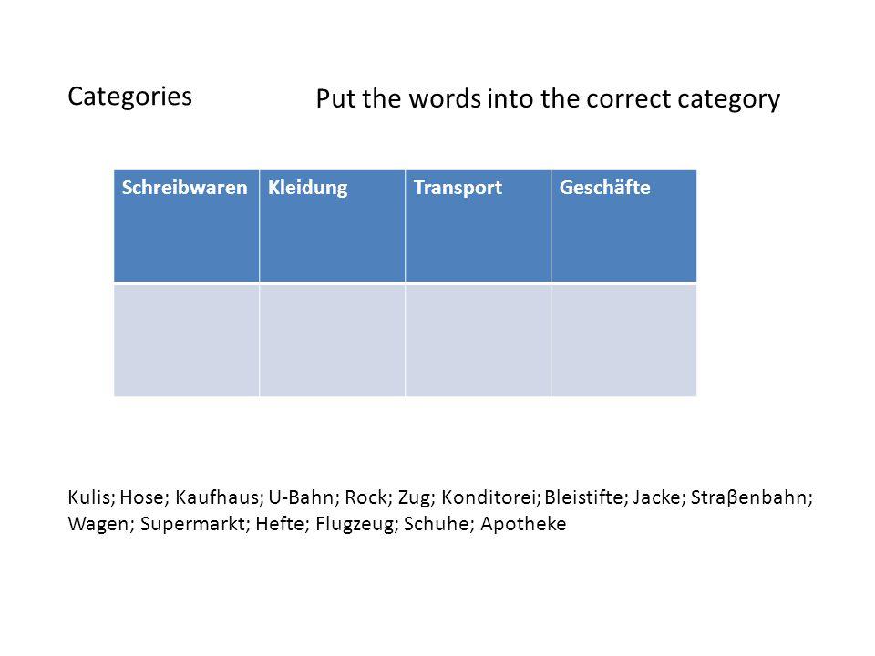 Categories Put the words into the correct category SchreibwarenKleidungTransportGeschäfte Kulis; Hose; Kaufhaus; U-Bahn; Rock; Zug; Konditorei; Bleist