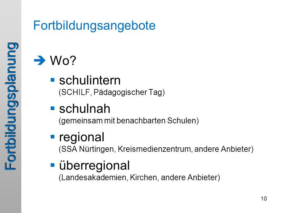 Fortbildungsplanung  Wo?  schulintern (SCHILF, Pädagogischer Tag)  schulnah (gemeinsam mit benachbarten Schulen)  regional (SSA Nürtingen, Kreisme