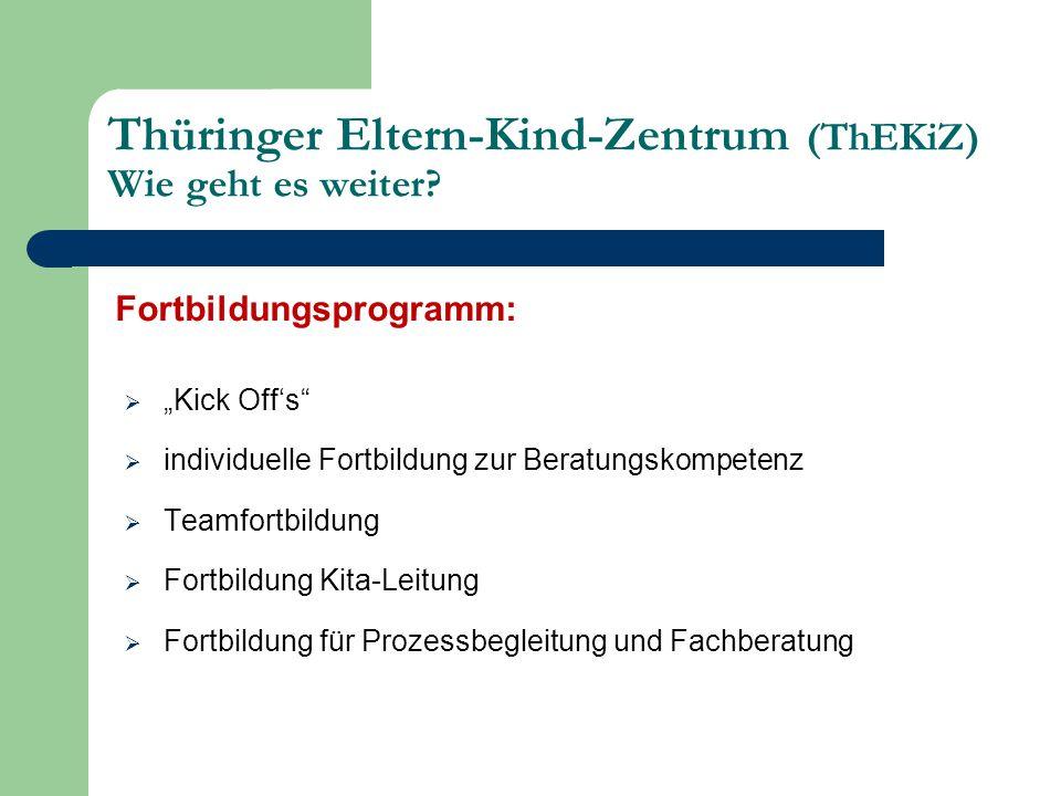 """Fortbildungsprogramm:  """"Kick Off's  individuelle Fortbildung zur Beratungskompetenz  Teamfortbildung  Fortbildung Kita-Leitung  Fortbildung für Prozessbegleitung und Fachberatung Thüringer Eltern-Kind-Zentrum (ThEKiZ) Wie geht es weiter?"""