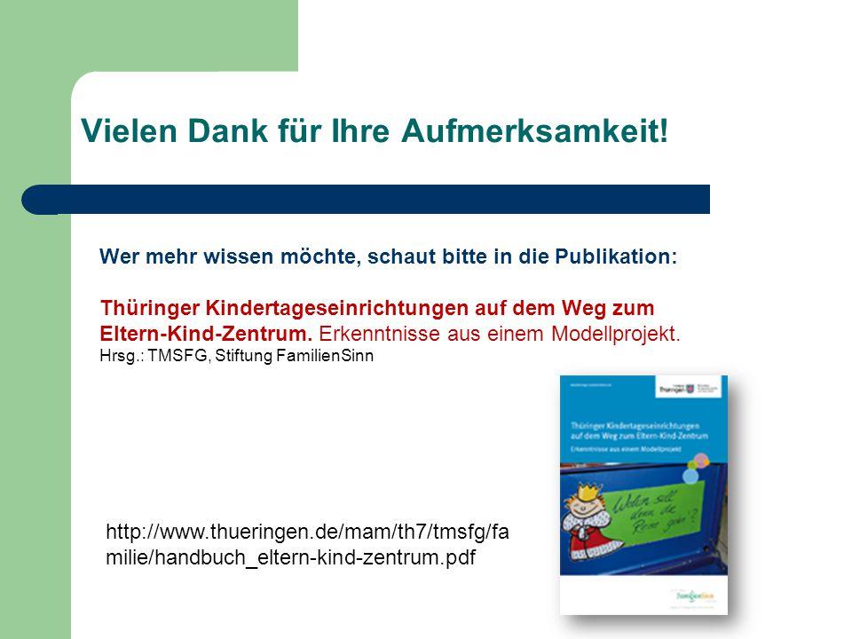 Vielen Dank für Ihre Aufmerksamkeit! Wer mehr wissen möchte, schaut bitte in die Publikation: Thüringer Kindertageseinrichtungen auf dem Weg zum Elter