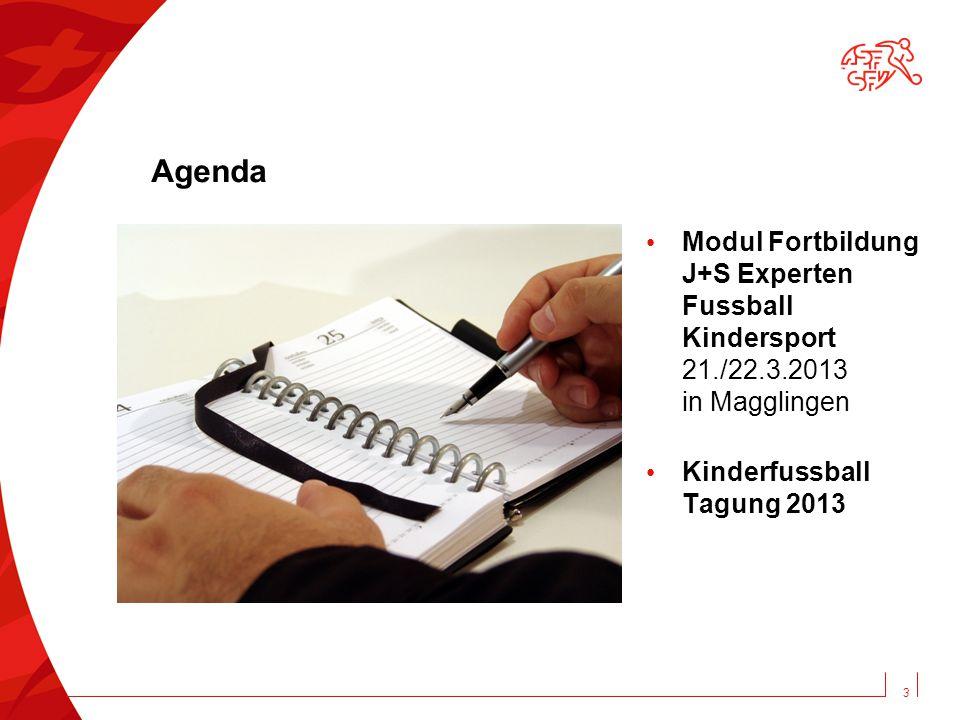 Agenda Modul Fortbildung J+S Experten Fussball Kindersport 21./22.3.2013 in Magglingen Kinderfussball Tagung 2013 3
