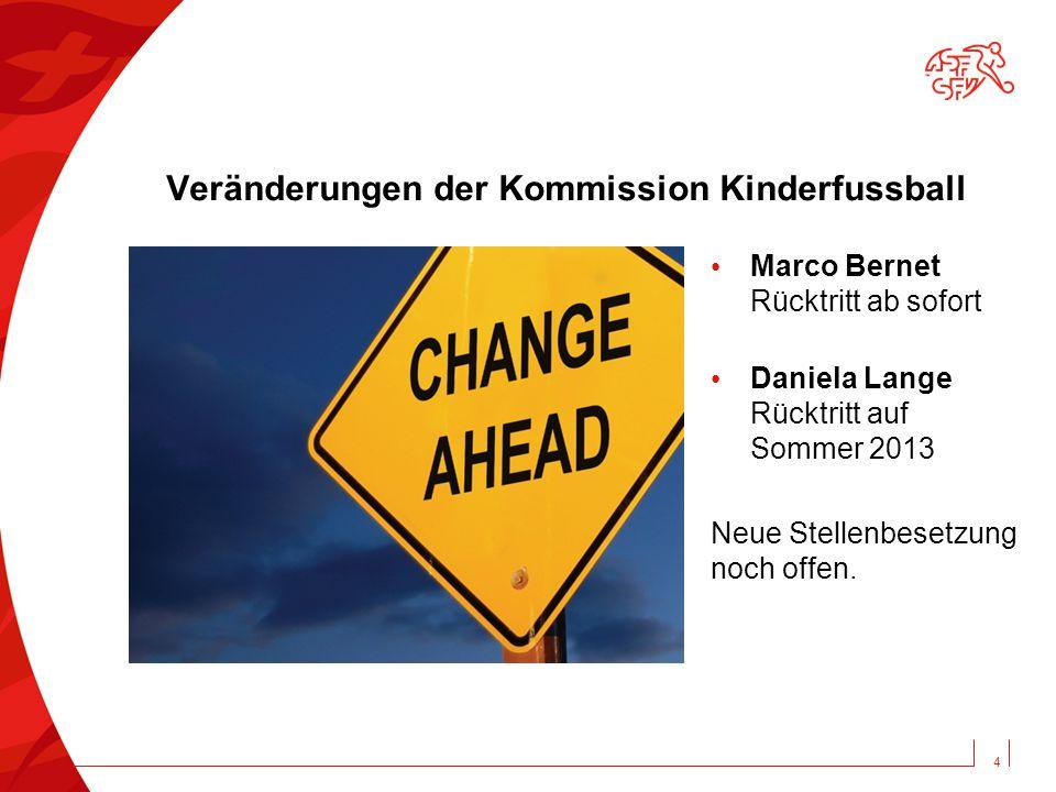 Veränderungen der Kommission Kinderfussball Marco Bernet Rücktritt ab sofort Daniela Lange Rücktritt auf Sommer 2013 Neue Stellenbesetzung noch offen.