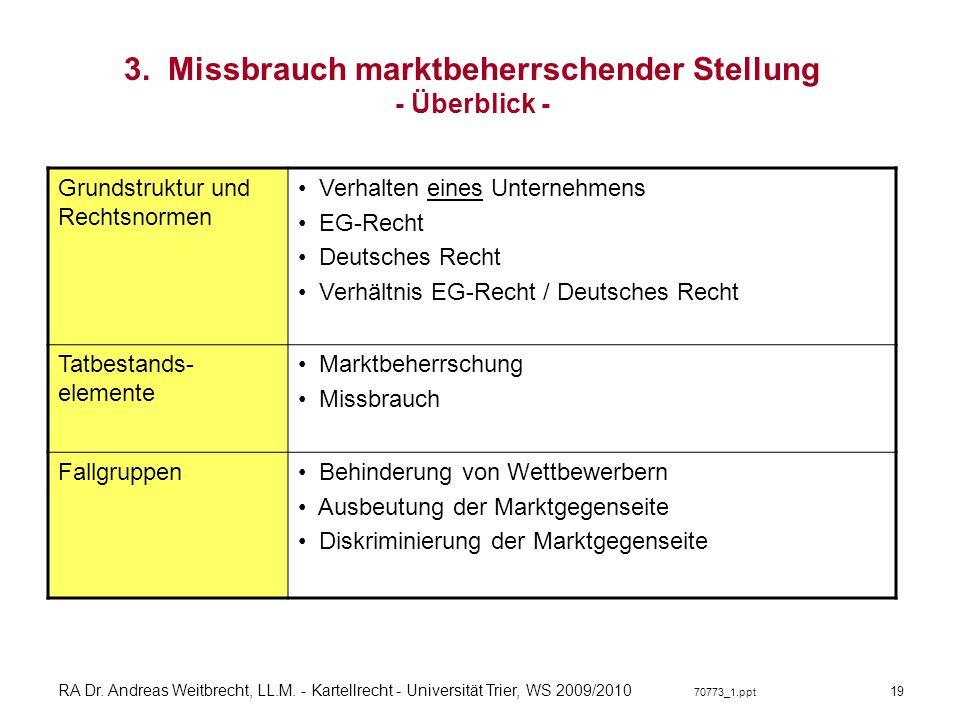 RA Dr. Andreas Weitbrecht, LL.M. - Kartellrecht - Universität Trier, WS 2009/2010 70773_1.ppt 3. Missbrauch marktbeherrschender Stellung - Überblick -