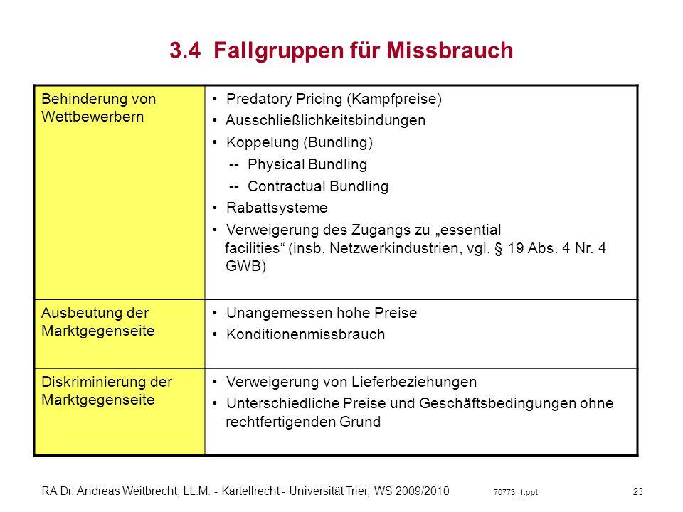 RA Dr. Andreas Weitbrecht, LL.M. - Kartellrecht - Universität Trier, WS 2009/2010 70773_1.ppt 3.4 Fallgruppen für Missbrauch Behinderung von Wettbewer