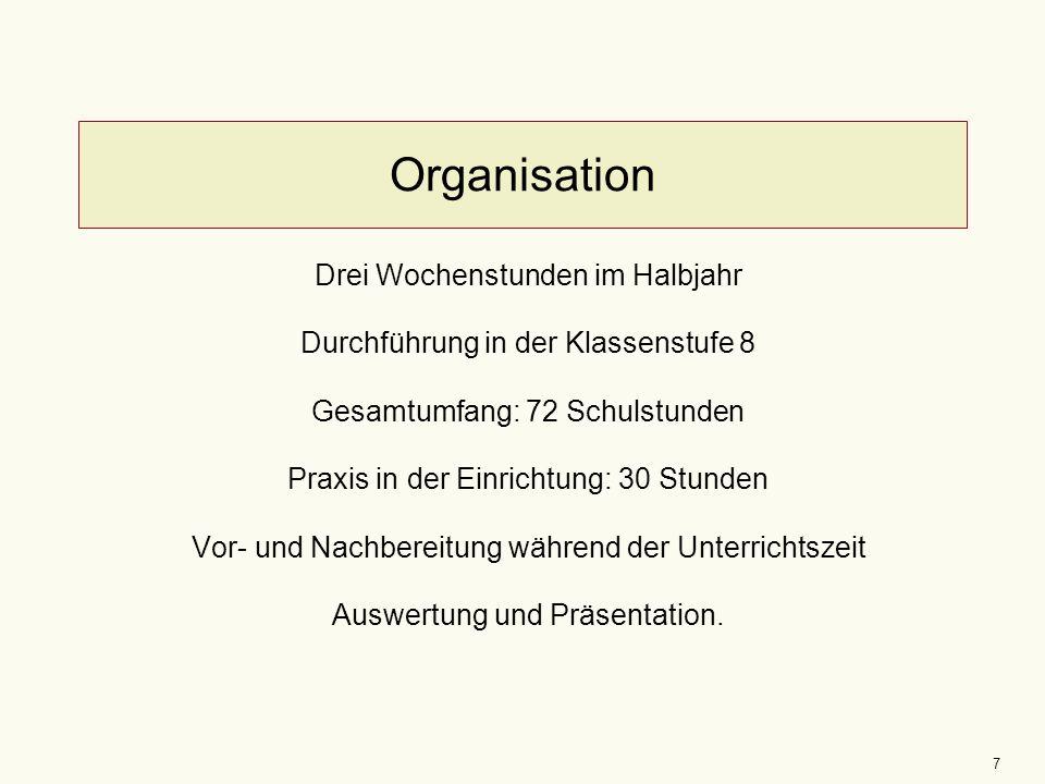 7 Organisation Drei Wochenstunden im Halbjahr Durchführung in der Klassenstufe 8 Gesamtumfang: 72 Schulstunden Praxis in der Einrichtung: 30 Stunden Vor- und Nachbereitung während der Unterrichtszeit Auswertung und Präsentation.
