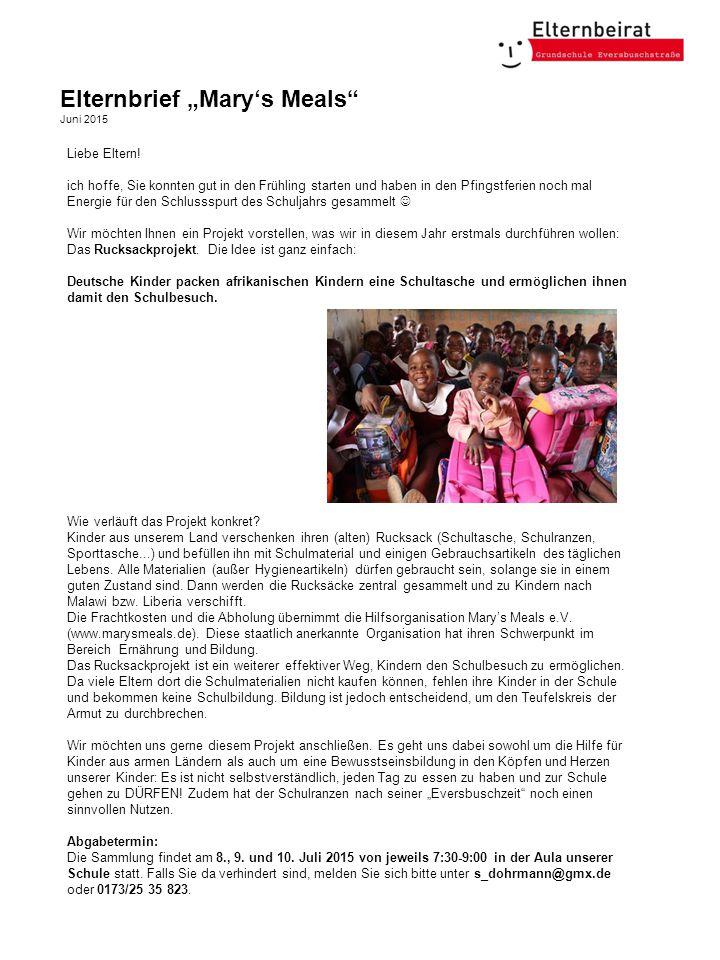"""Elternbrief """"Mary's Meals Juni 2015 Liebe Eltern."""