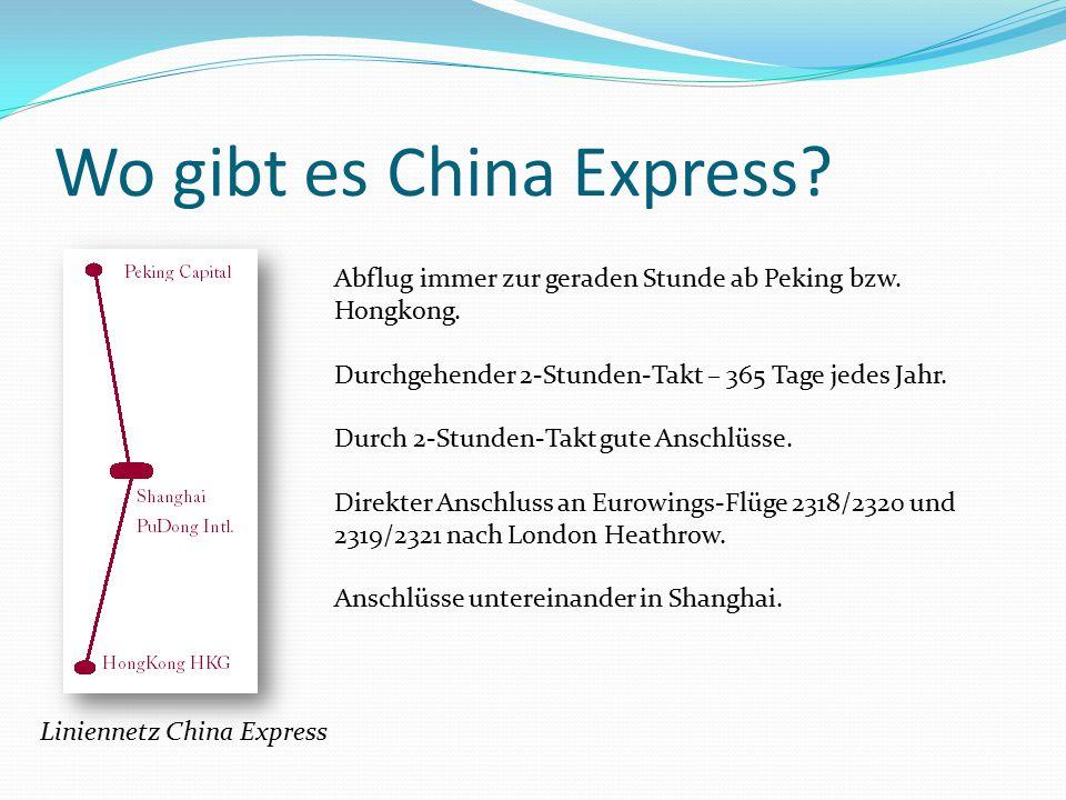 Wo gibt es China Express. Liniennetz China Express Abflug immer zur geraden Stunde ab Peking bzw.
