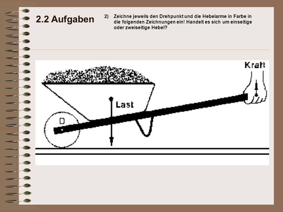 2.2 Aufgaben 2)Zeichne jeweils den Drehpunkt und die Hebelarme in Farbe in die folgenden Zeichnungen ein.