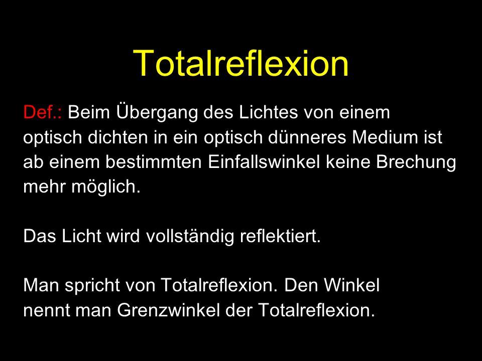 Totalreflexion Def.: Beim Übergang des Lichtes von einem optisch dichten in ein optisch dünneres Medium ist ab einem bestimmten Einfallswinkel keine B