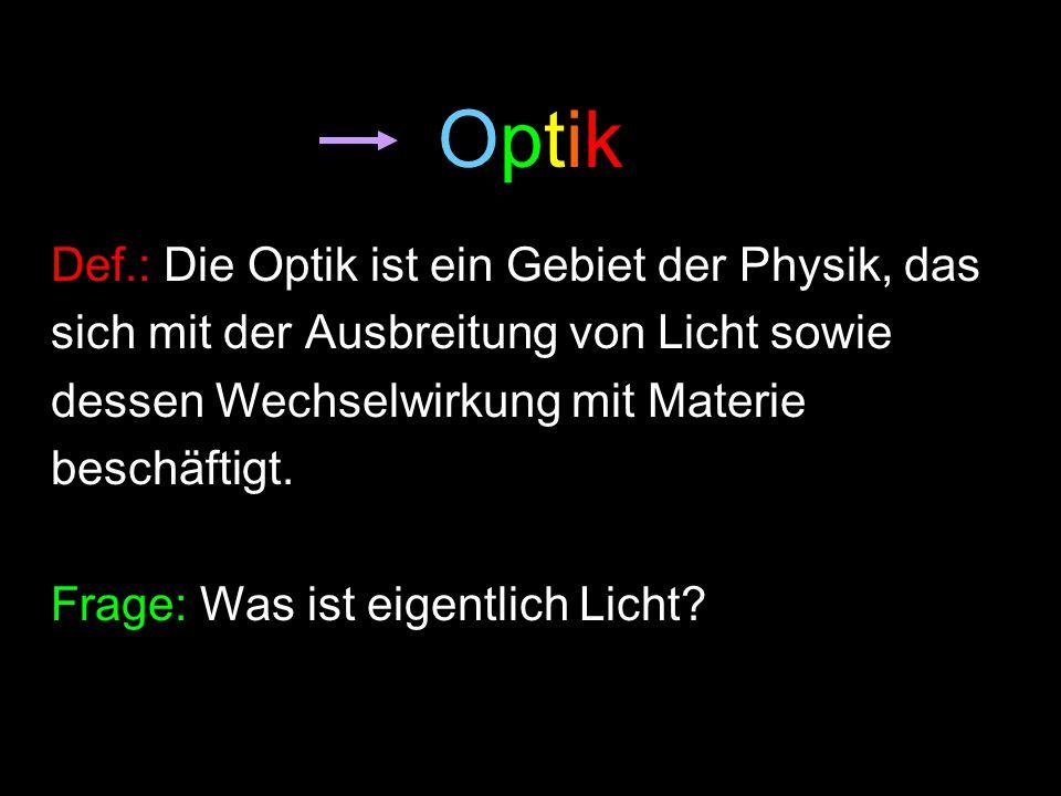 OptikOptik Def.: Die Optik ist ein Gebiet der Physik, das sich mit der Ausbreitung von Licht sowie dessen Wechselwirkung mit Materie beschäftigt. Frag