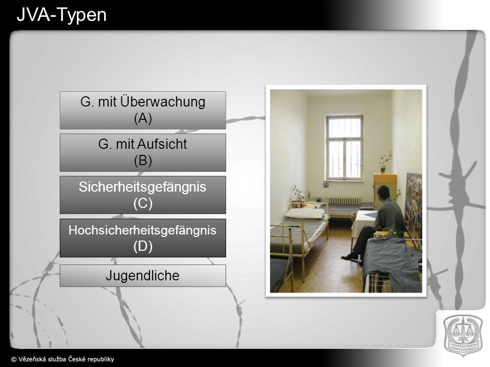 G. mit Überwachung (A) G. mit Aufsicht (B) Sicherheitsgefängnis (C) Hochsicherheitsgefängnis (D) Jugendliche JVA-Typen