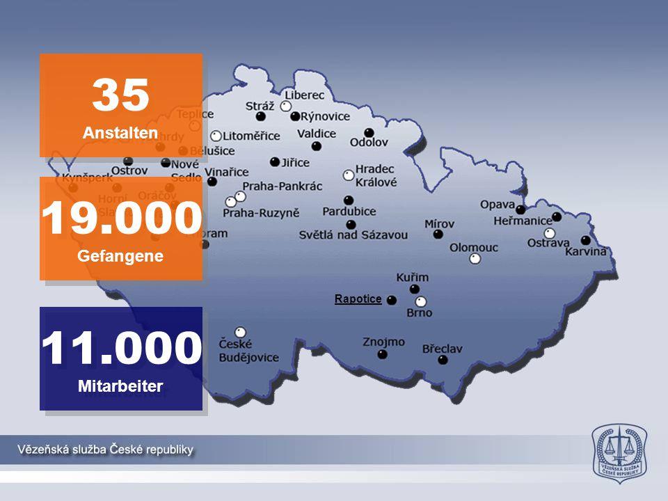 Rapotice 35 Anstalten 35 Anstalten 11.000 Mitarbeiter 11.000 Mitarbeiter 19.000 Gefangene 19.000 Gefangene