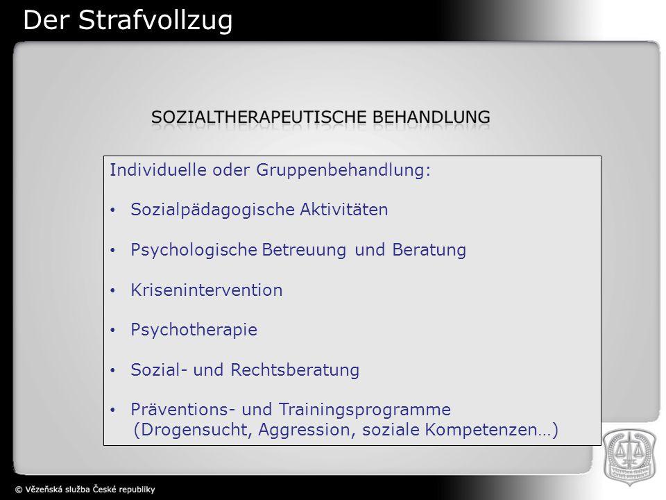 Individuelle oder Gruppenbehandlung: Sozialpädagogische Aktivitäten Psychologische Betreuung und Beratung Krisenintervention Psychotherapie Sozial- und Rechtsberatung Präventions- und Trainingsprogramme (Drogensucht, Aggression, soziale Kompetenzen…) Der Strafvollzug