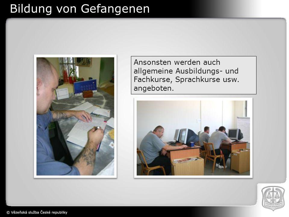 Ansonsten werden auch allgemeine Ausbildungs- und Fachkurse, Sprachkurse usw. angeboten. Bildung von Gefangenen