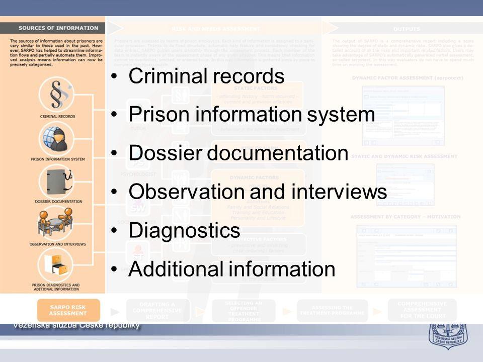 Criminal records Prison information system Dossier documentation Observation and interviews Diagnostics Additional information