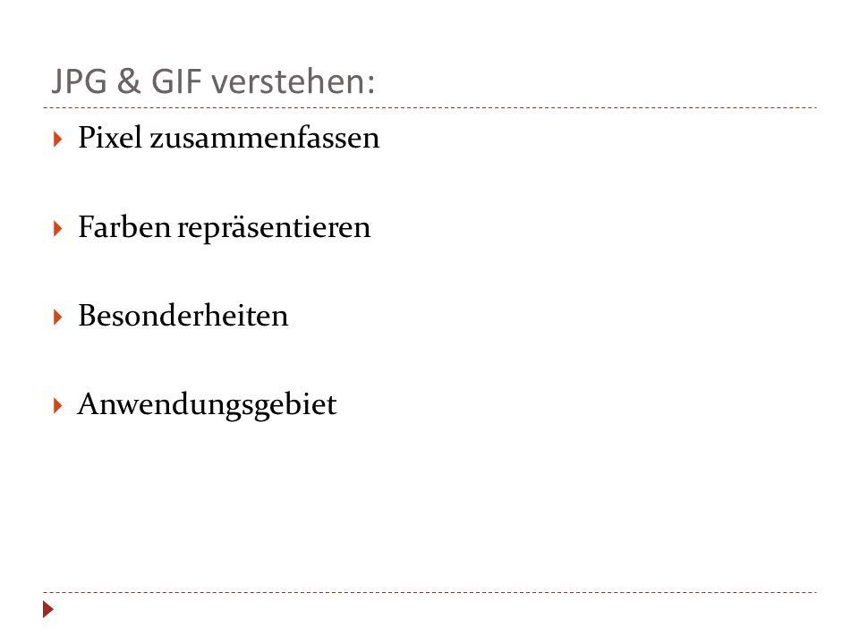 JPG & GIF verstehen:  Pixel zusammenfassen  Farben repräsentieren  Besonderheiten  Anwendungsgebiet