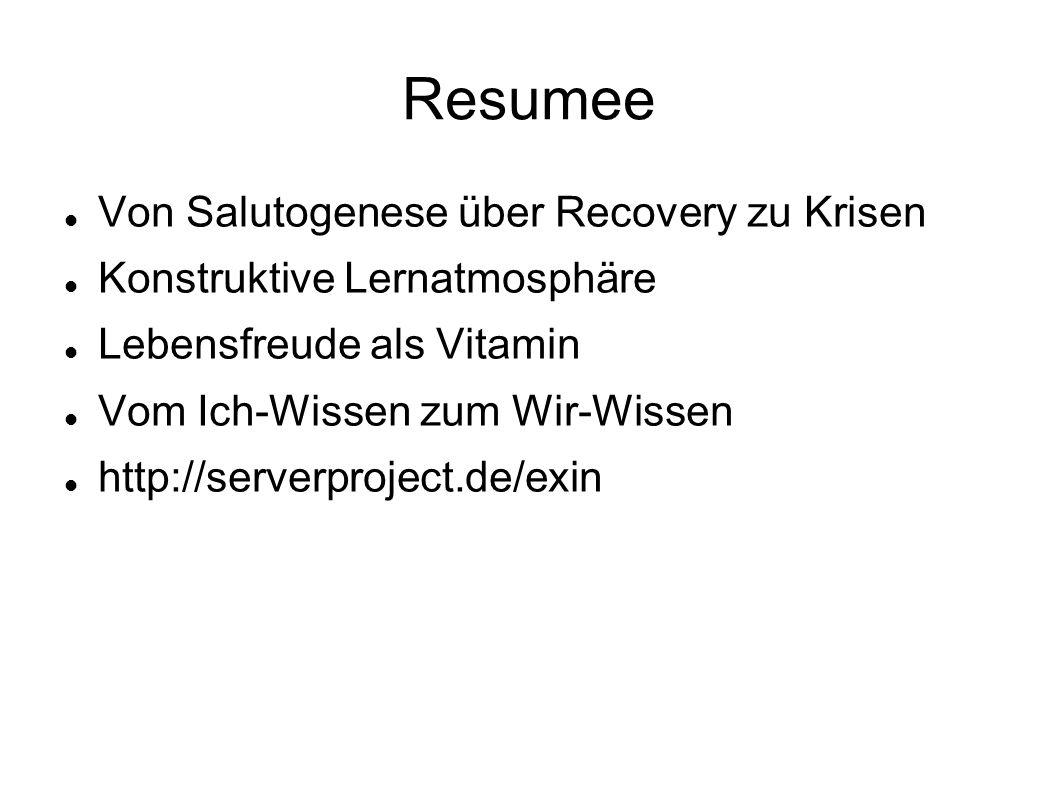 Resumee Von Salutogenese über Recovery zu Krisen Konstruktive Lernatmosphäre Lebensfreude als Vitamin Vom Ich-Wissen zum Wir-Wissen http://serverproject.de/exin