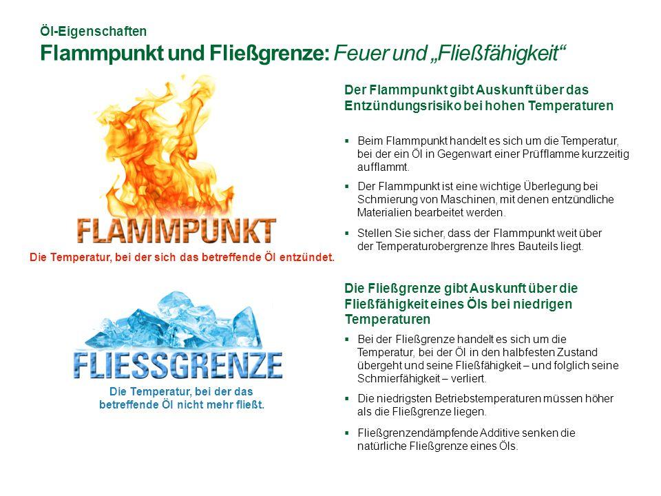 """Öl-Eigenschaften Flammpunkt und Fließgrenze: Feuer und """"Fließfähigkeit  Beim Flammpunkt handelt es sich um die Temperatur, bei der ein Öl in Gegenwart einer Prüfflamme kurzzeitig aufflammt."""