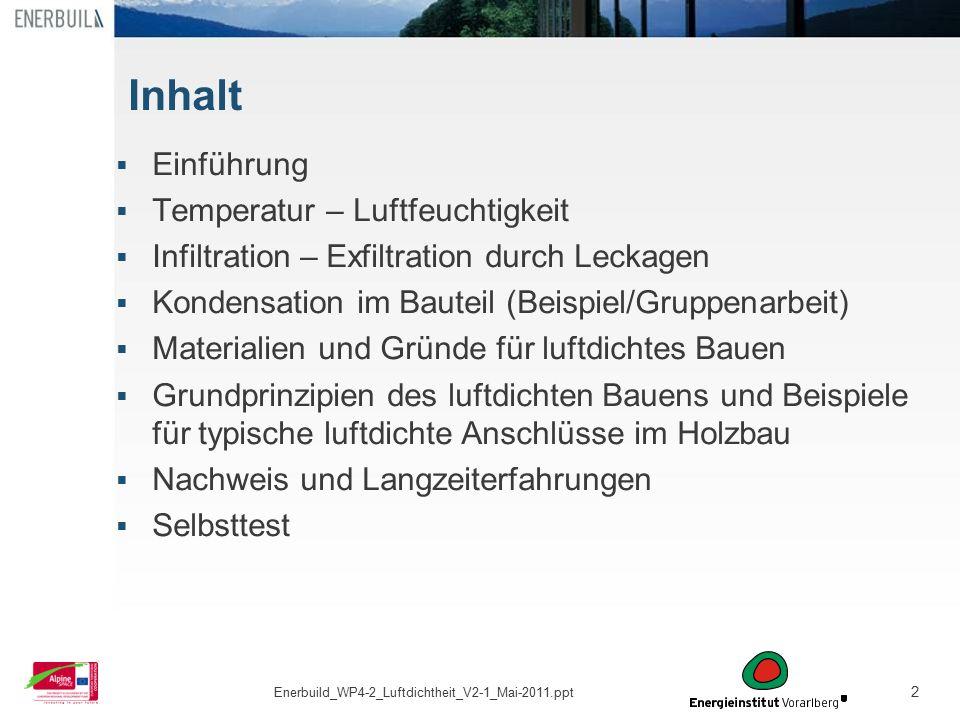 2 Inhalt  Einführung  Temperatur – Luftfeuchtigkeit  Infiltration – Exfiltration durch Leckagen  Kondensation im Bauteil (Beispiel/Gruppenarbeit)
