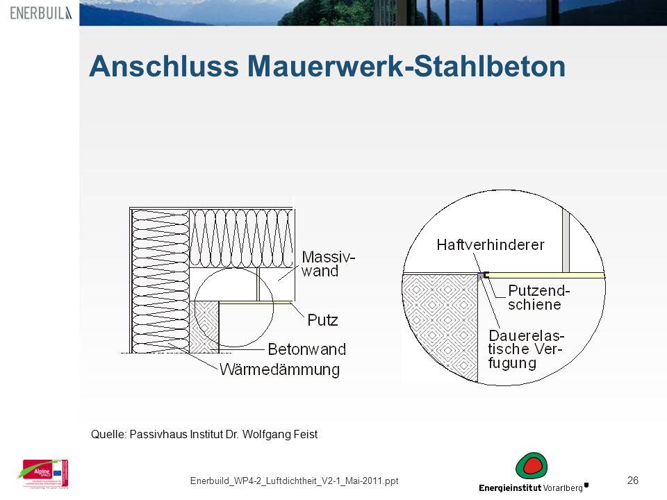 26 Anschluss Mauerwerk-Stahlbeton Quelle: Passivhaus Institut Dr. Wolfgang Feist Enerbuild_WP4-2_Luftdichtheit_V2-1_Mai-2011.ppt