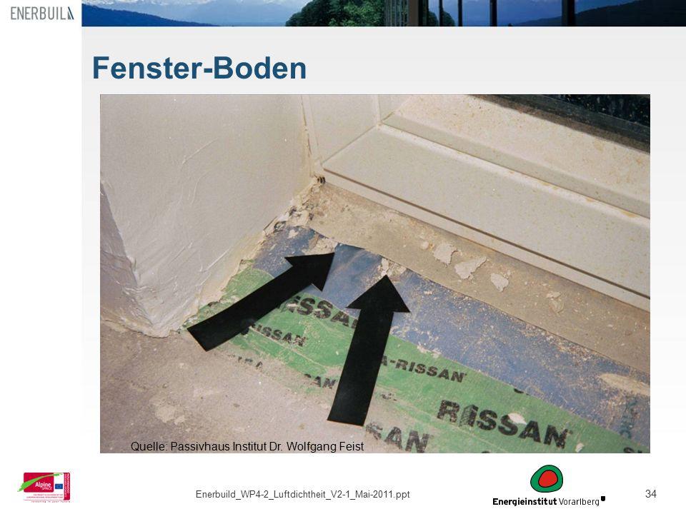 34 Fenster-Boden Quelle: Passivhaus Institut Dr. Wolfgang Feist Enerbuild_WP4-2_Luftdichtheit_V2-1_Mai-2011.ppt