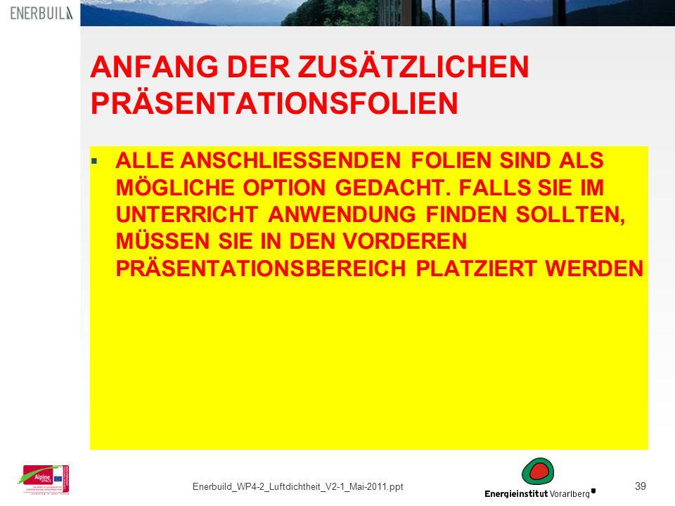39 ANFANG DER ZUSÄTZLICHEN PRÄSENTATIONSFOLIEN  ALLE ANSCHLIESSENDEN FOLIEN SIND ALS MÖGLICHE OPTION GEDACHT. FALLS SIE IM UNTERRICHT ANWENDUNG FINDE
