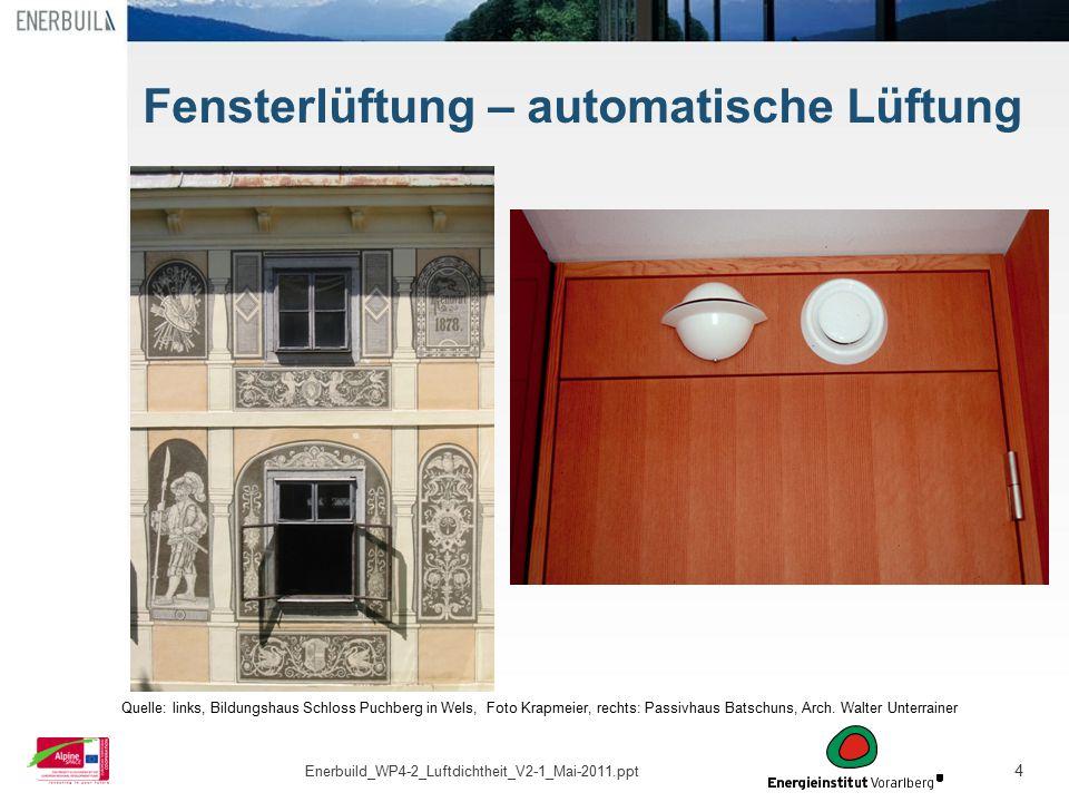 4 Fensterlüftung – automatische Lüftung Quelle: links, Bildungshaus Schloss Puchberg in Wels, Foto Krapmeier, rechts: Passivhaus Batschuns, Arch. Walt