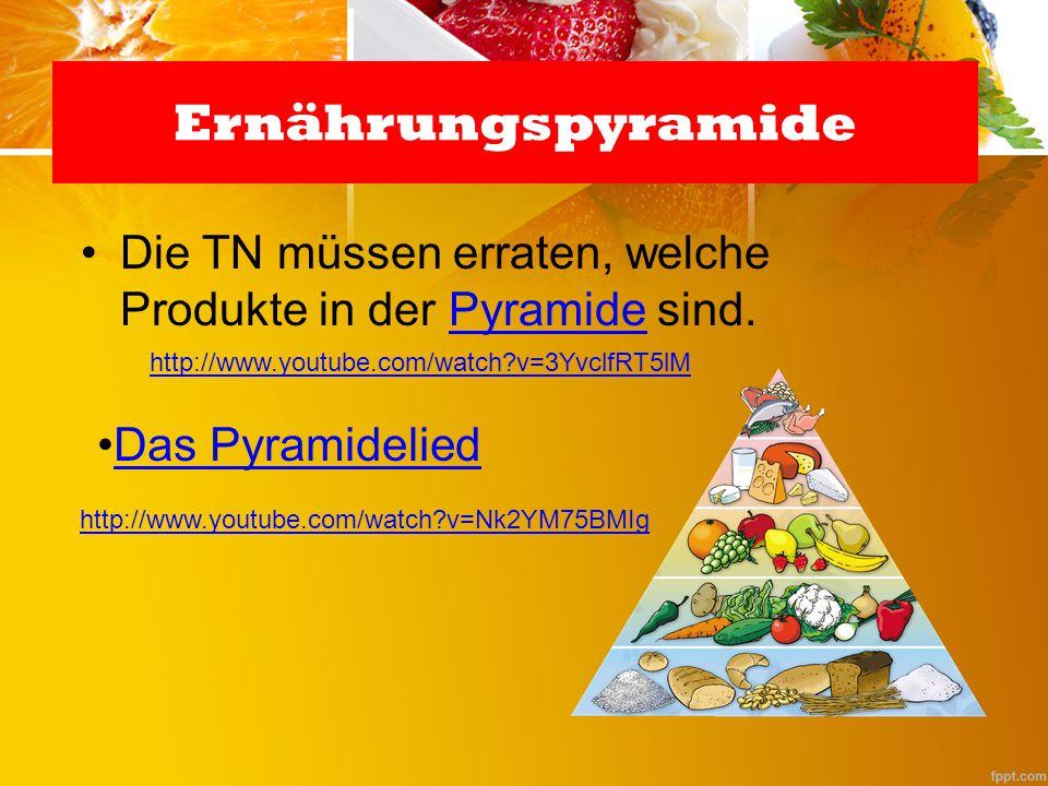 Die TN müssen erraten, welche Produkte in der Pyramide sind.Pyramide Ernährungspyramide Das Pyramidelied http://www.youtube.com/watch?v=3YvclfRT5lM ht