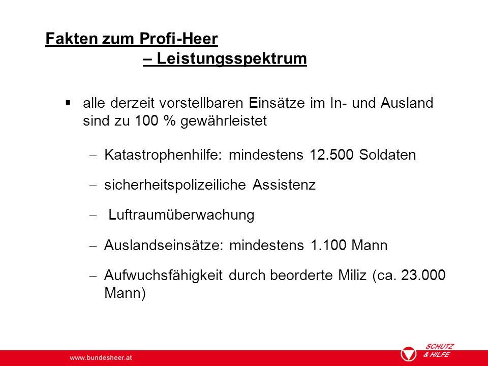 www.bundesheer.at Fakten zum Profi-Heer – Leistungsspektrum  alle derzeit vorstellbaren Einsätze im In- und Ausland sind zu 100 % gewährleistet  Kat