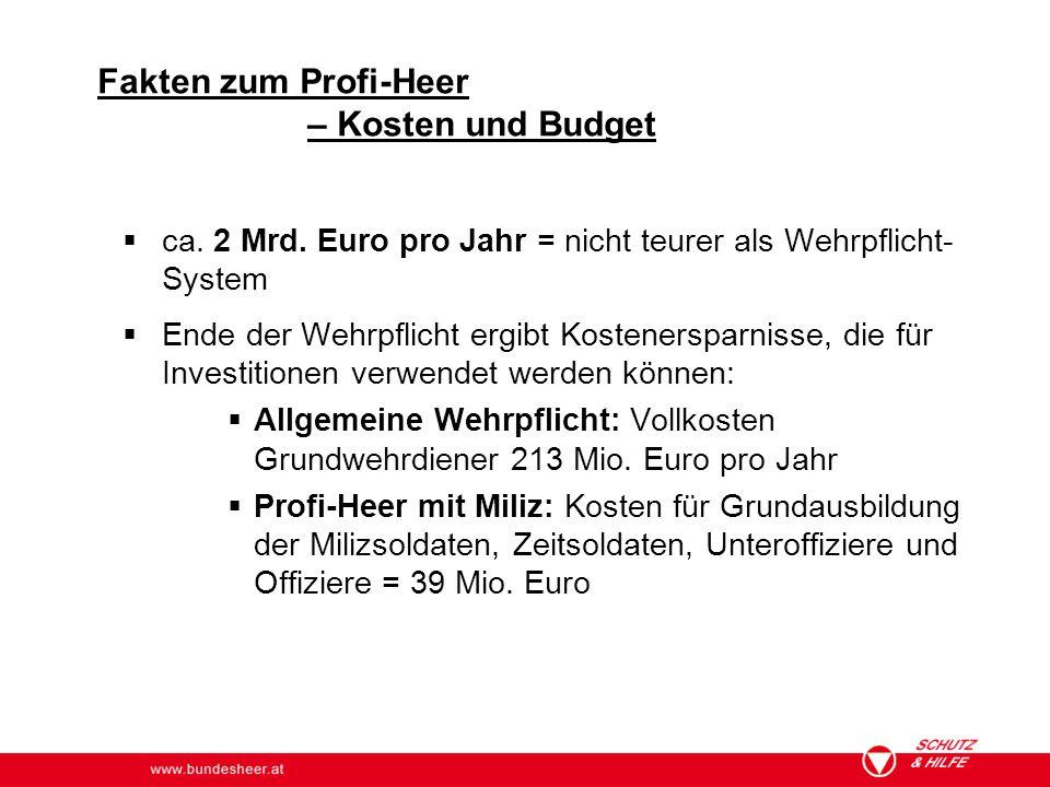 www.bundesheer.at  ca. 2 Mrd. Euro pro Jahr = nicht teurer als Wehrpflicht- System  Ende der Wehrpflicht ergibt Kostenersparnisse, die für Investiti