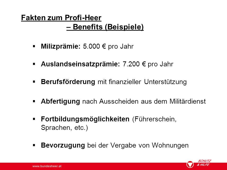 www.bundesheer.at  Milizprämie: 5.000 € pro Jahr  Auslandseinsatzprämie: 7.200 € pro Jahr  Berufsförderung mit finanzieller Unterstützung  Abferti