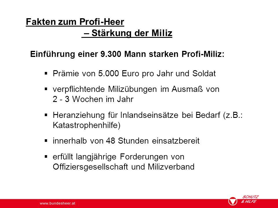 www.bundesheer.at Einführung einer 9.300 Mann starken Profi-Miliz:  Prämie von 5.000 Euro pro Jahr und Soldat  verpflichtende Milizübungen im Ausmaß