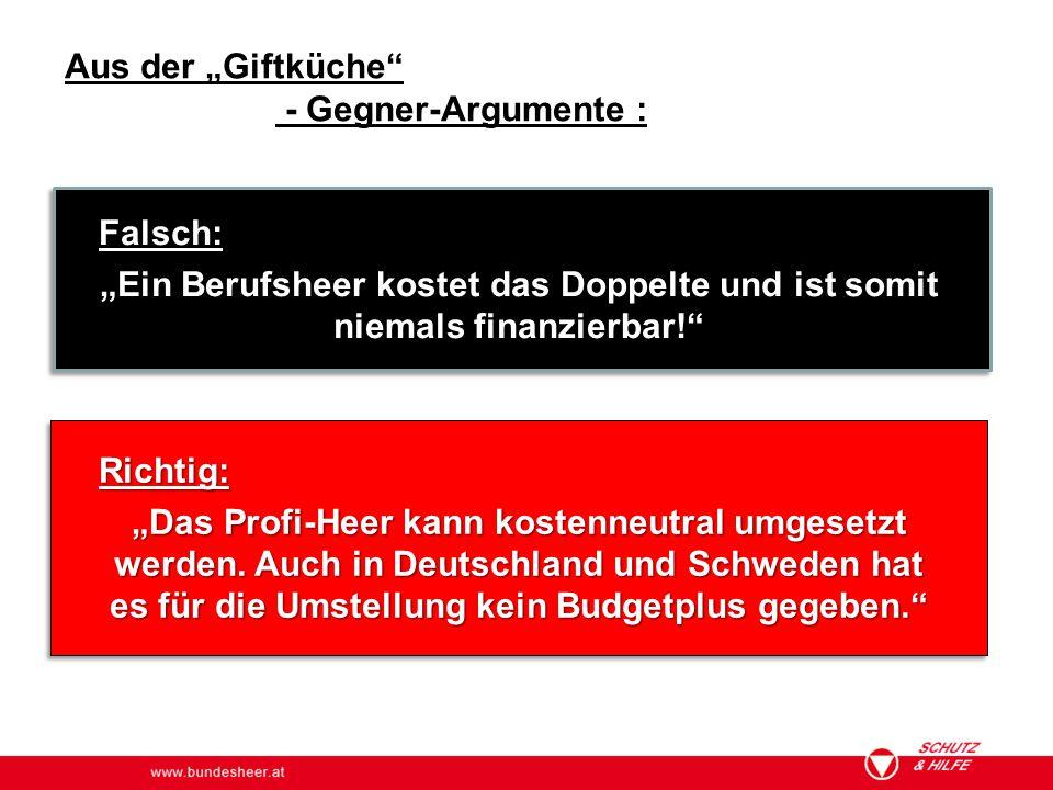 """www.bundesheer.at Aus der """"Giftküche"""" - Gegner-Argumente : Falsch: """"Ein Berufsheer kostet das Doppelte und ist somit niemals finanzierbar!"""" Richtig: """""""