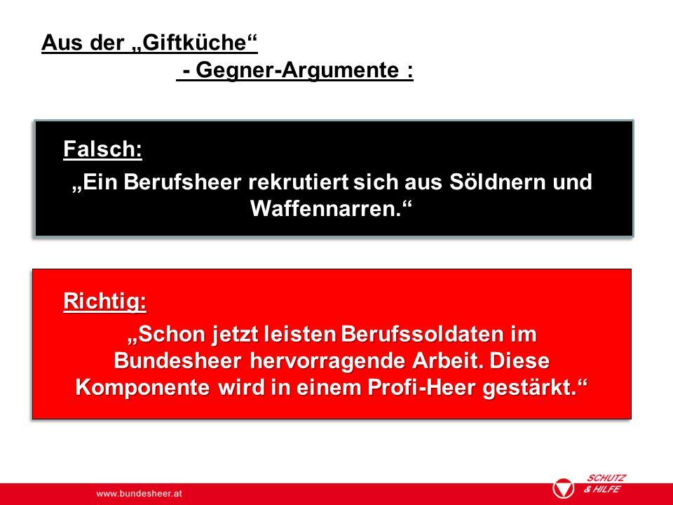 """www.bundesheer.at Aus der """"Giftküche"""" - Gegner-Argumente : Falsch: """"Ein Berufsheer rekrutiert sich aus Söldnern und Waffennarren."""" Richtig: """"Schon jet"""