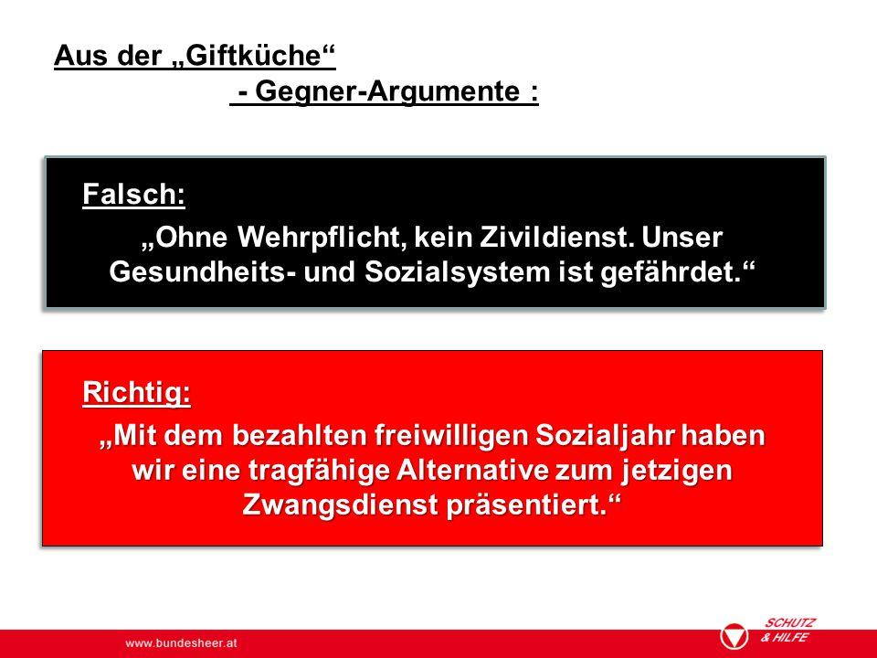 """www.bundesheer.at Aus der """"Giftküche"""" - Gegner-Argumente : Falsch: """"Ohne Wehrpflicht, kein Zivildienst. Unser Gesundheits- und Sozialsystem ist gefähr"""