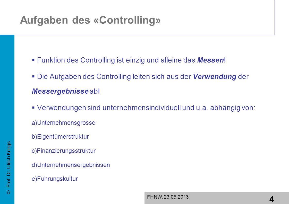 5 FHNW, 23.05.2013 © Prof.Dr. Ulrich Krings Controlling der Symptome oder der Ursachen.