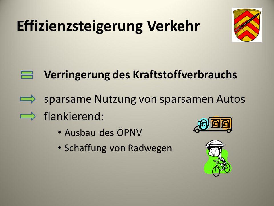 Effizienzsteigerung Verkehr Verringerung des Kraftstoffverbrauchs sparsame Nutzung von sparsamen Autos flankierend: Ausbau des ÖPNV Schaffung von Radw