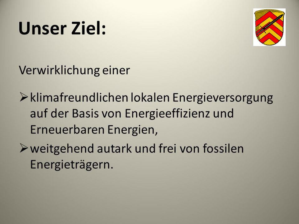 Unser Ziel: Verwirklichung einer  klimafreundlichen lokalen Energieversorgung auf der Basis von Energieeffizienz und Erneuerbaren Energien,  weitgeh