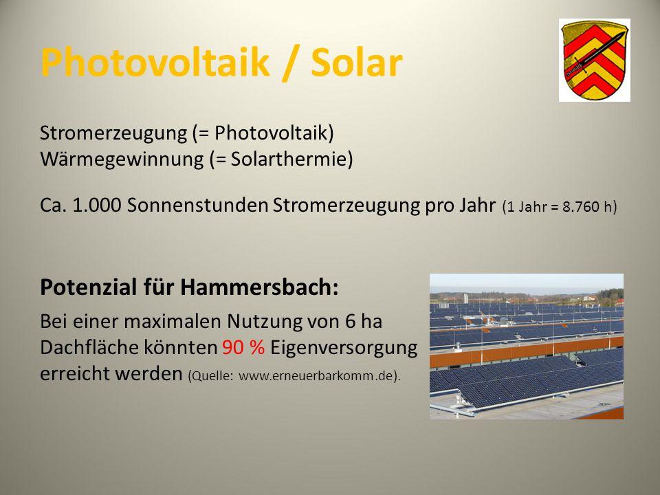 Photovoltaik / Solar Stromerzeugung (= Photovoltaik) Wärmegewinnung (= Solarthermie) Ca. 1.000 Sonnenstunden Stromerzeugung pro Jahr (1 Jahr = 8.760 h