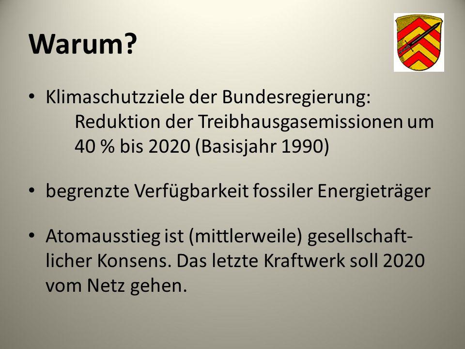 Warum? Klimaschutzziele der Bundesregierung: Reduktion der Treibhausgasemissionen um 40 % bis 2020 (Basisjahr 1990) begrenzte Verfügbarkeit fossiler E