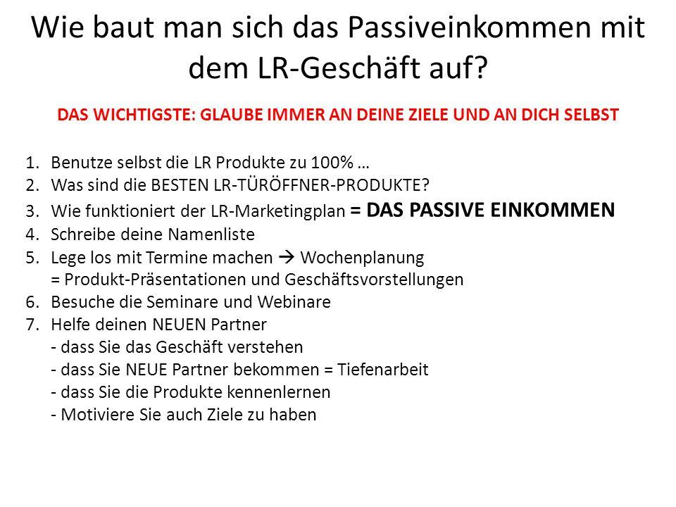 Wie baut man sich das Passiveinkommen mit dem LR-Geschäft auf? 1.Benutze selbst die LR Produkte zu 100% … 2.Was sind die BESTEN LR-TÜRÖFFNER-PRODUKTE?