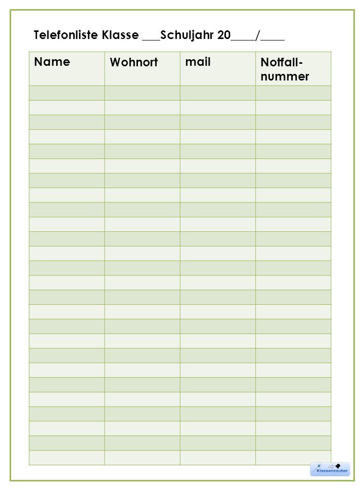 NameWohnortmailNotfall- nummer Telefonliste Klasse ___Schuljahr 20____/____