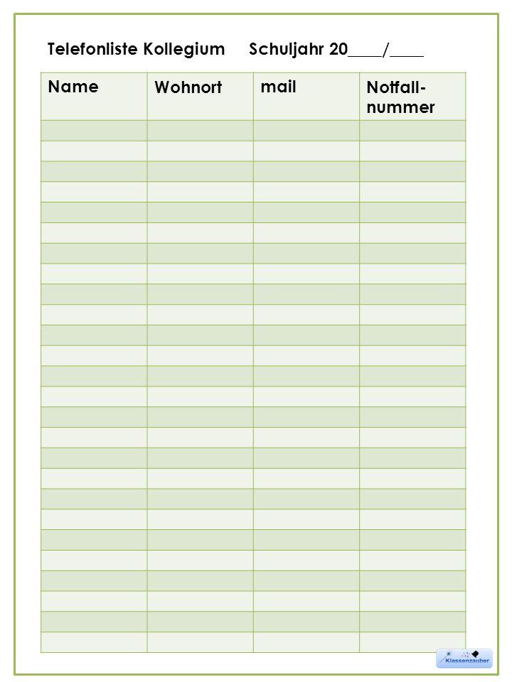 NameWohnortmailNotfall- nummer Telefonliste Kollegium Schuljahr 20____/____
