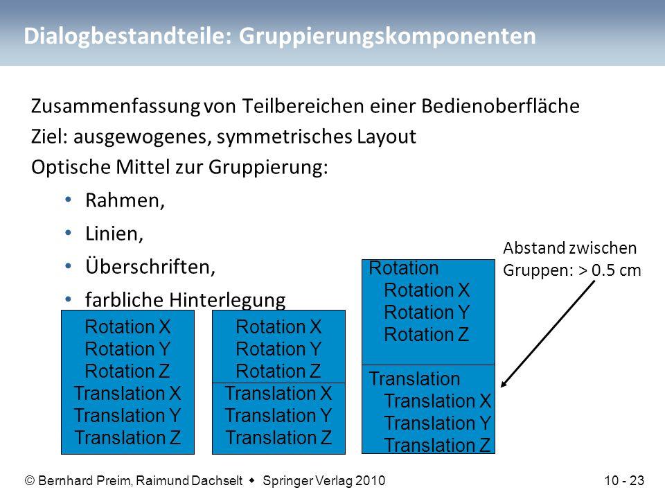 © Bernhard Preim, Raimund Dachselt  Springer Verlag 2010 Dialogbestandteile: Gruppierungskomponenten Zusammenfassung von Teilbereichen einer Bedienob