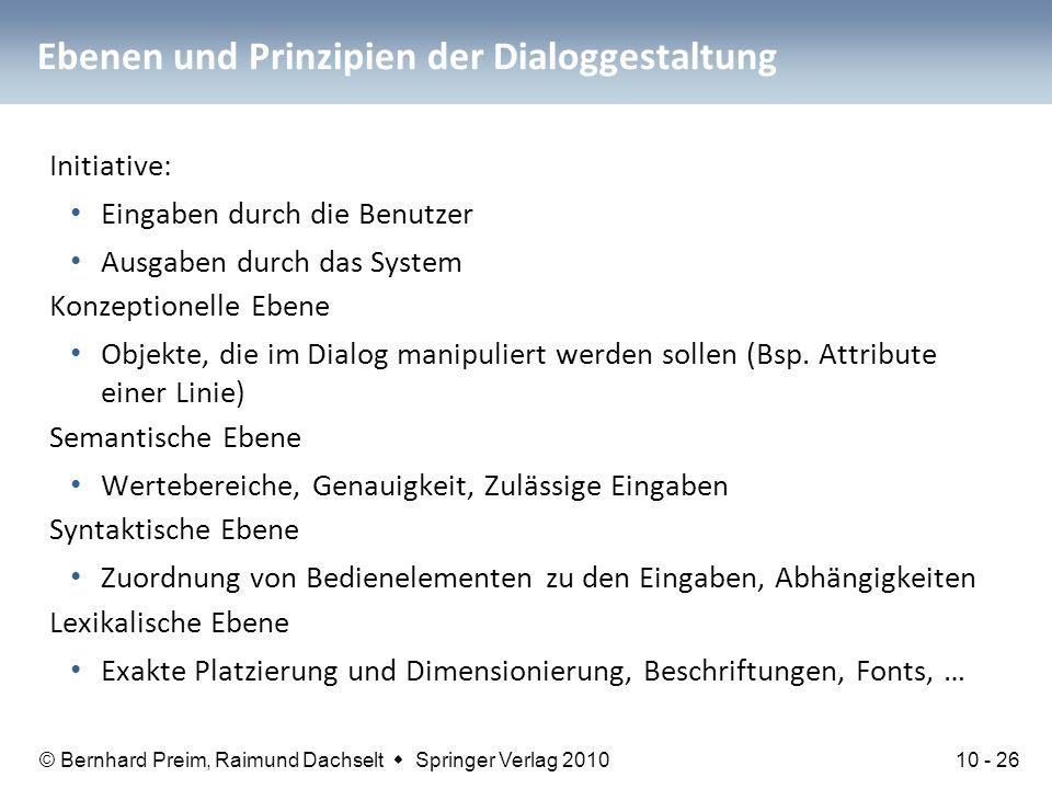 © Bernhard Preim, Raimund Dachselt  Springer Verlag 2010 Ebenen und Prinzipien der Dialoggestaltung Initiative: Eingaben durch die Benutzer Ausgaben