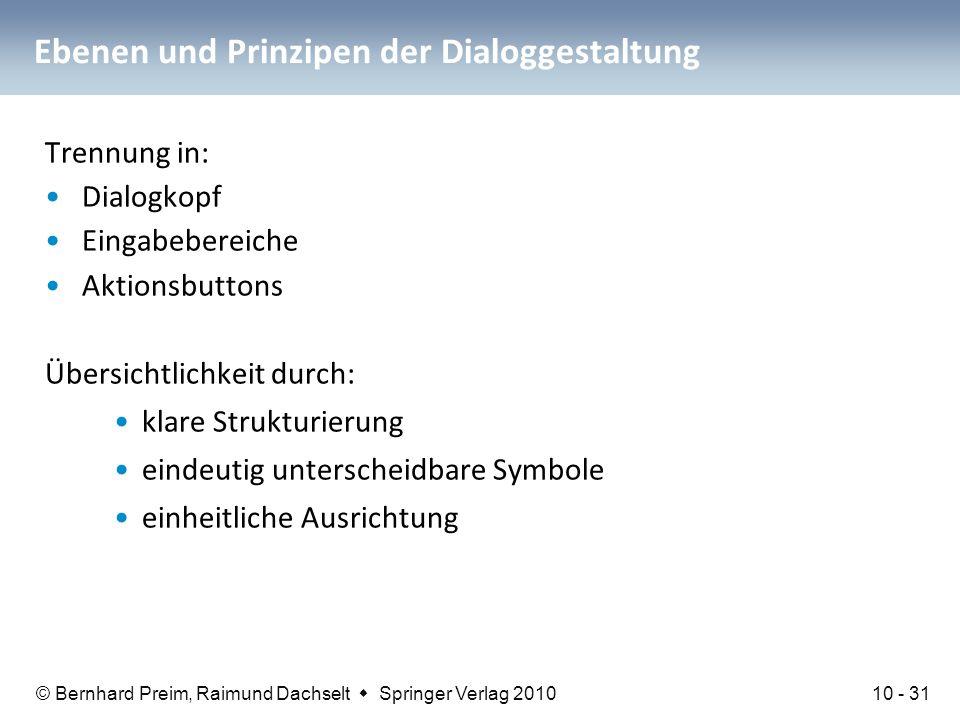 © Bernhard Preim, Raimund Dachselt  Springer Verlag 2010 Ebenen und Prinzipen der Dialoggestaltung Trennung in: Dialogkopf Eingabebereiche Aktionsbut