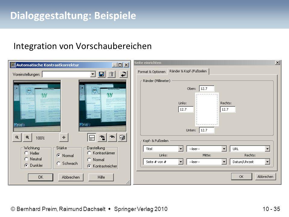 © Bernhard Preim, Raimund Dachselt  Springer Verlag 2010 Dialoggestaltung: Beispiele Integration von Vorschaubereichen 10 - 35