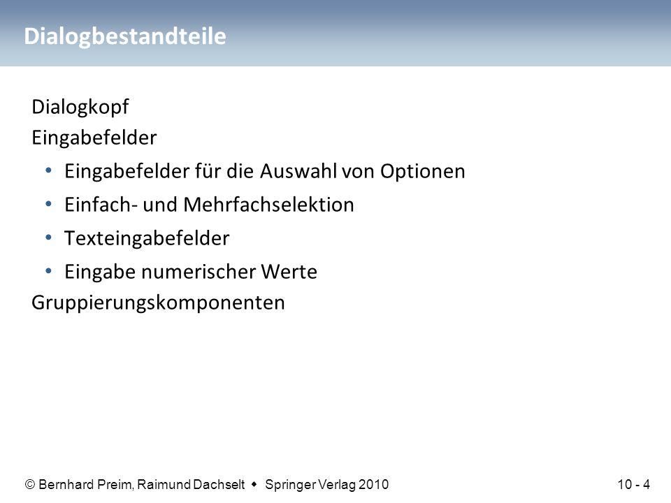 © Bernhard Preim, Raimund Dachselt  Springer Verlag 2010 Dialogbestandteile Dialogkopf Eingabefelder Eingabefelder für die Auswahl von Optionen Einfa